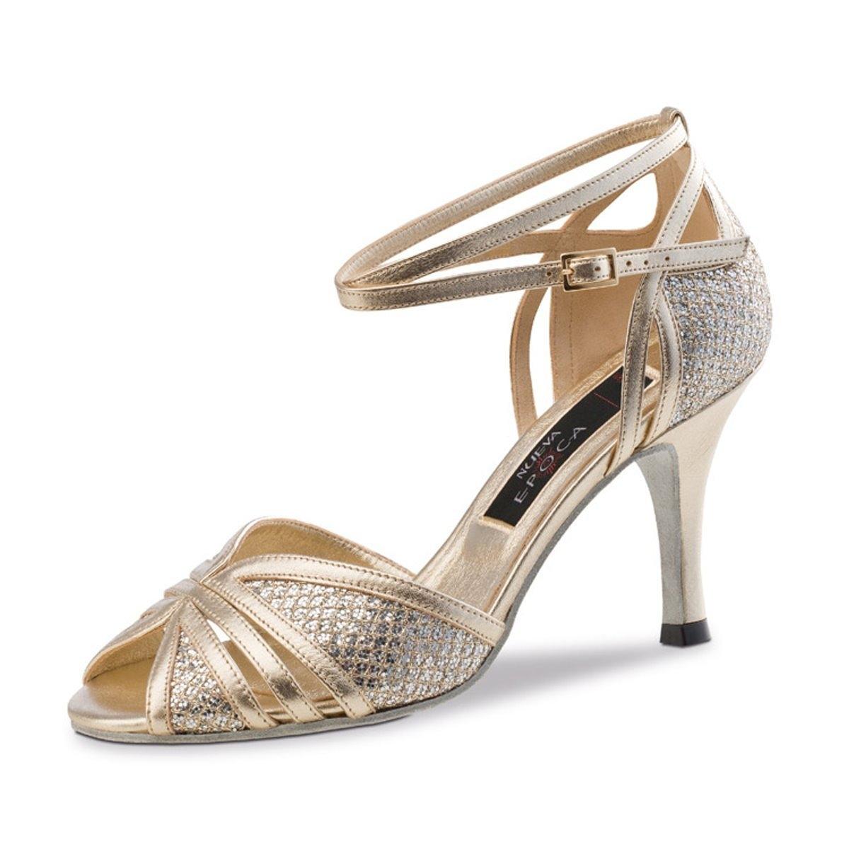 3f56d086 zapato de salsa y bachata para mujer brillantes de piel y platino